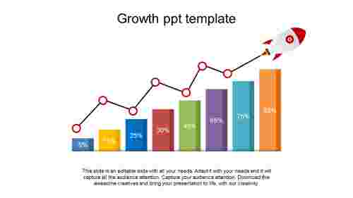 growth PPT template column chart design