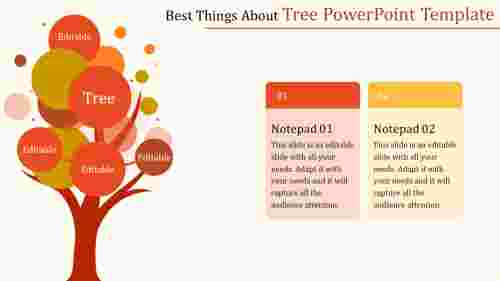 tree powerpoint template - orange
