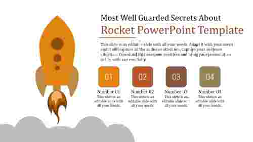 rocket powerpoint template with four rounded squares