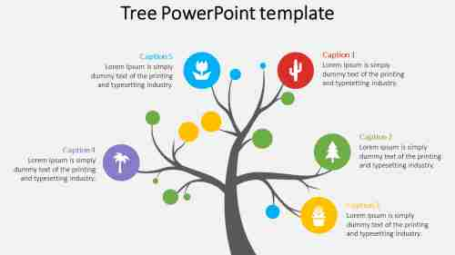 tree powerpoint template with icons