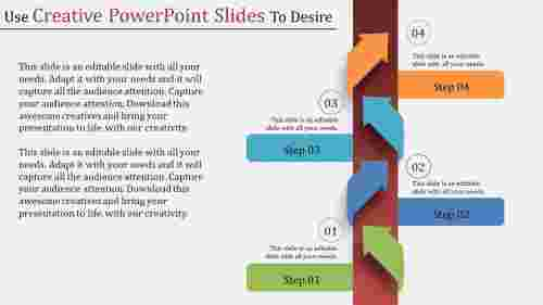 creative powerpoint slides with vertical arrows