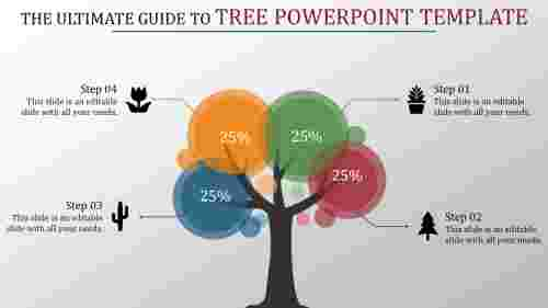 tree powerpoint template multi color circles