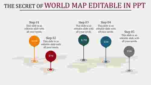 world map editable in powerpoint - location