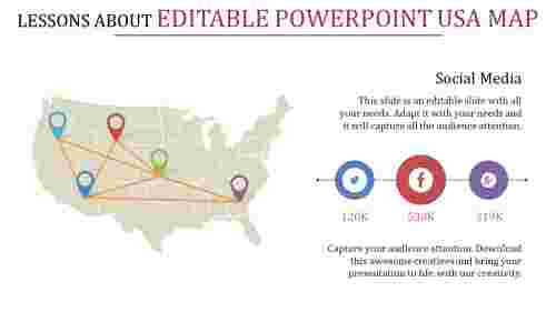 editable powerpoint usa map network connection