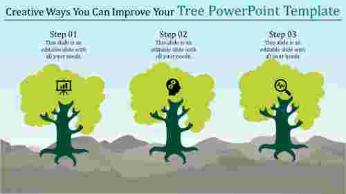 creative tree powerpoint template - three trees