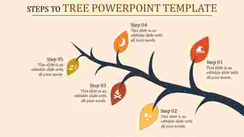 tree powerpoint template - single branch
