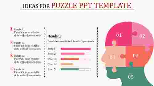 puzzle powerpoint template with bar chart