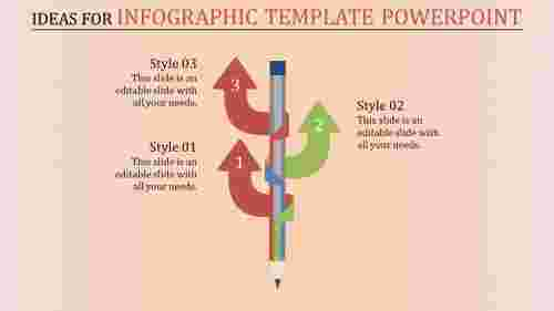 infographic template powerpoint with pencil and up-arrows