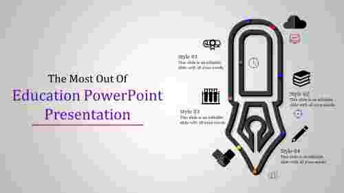 education powerpoint presentation with pen model