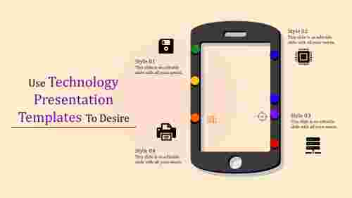 technology presentation templates with mobile phone shape