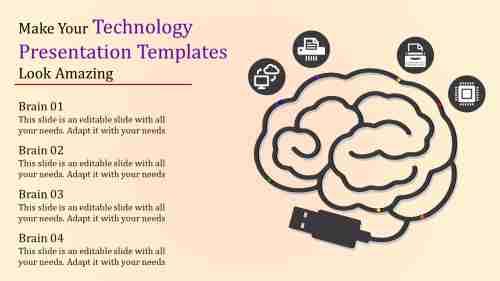 technology presentation templates - Human brain model