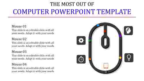 computer powerpoint template with mouse model