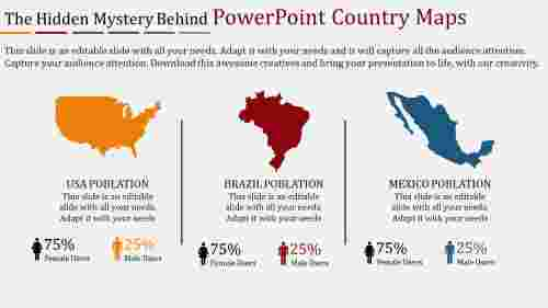 powerpoint country maps with percentages