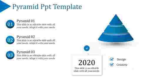 3D pyramid PPT template with four detailed