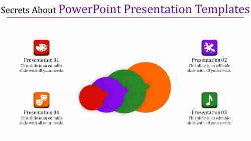 powerpoint presentation templates - four multi color circle