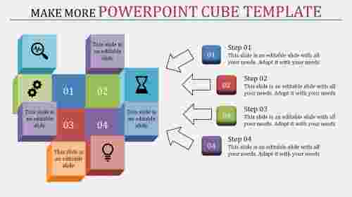 powerpoint cube template - four arrows multi color
