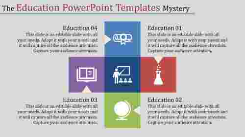 education powerpoint templates with five squares