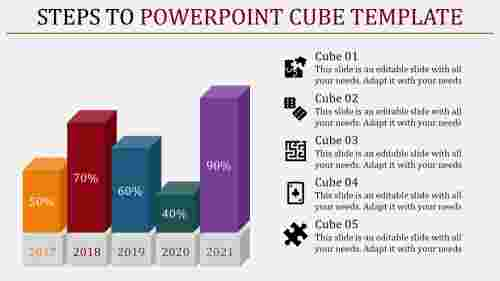 powerpoint cube template - five blocks