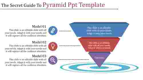 pyramid PPT template with three levels