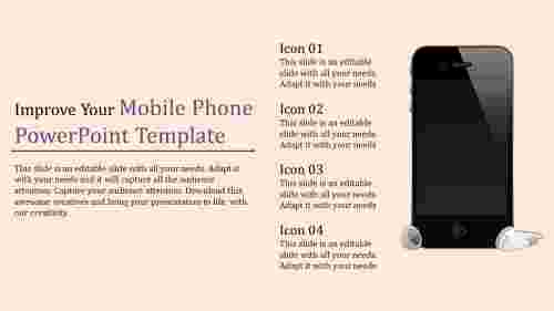 Image model mobile phone powerpoint template