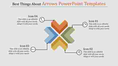 Four shapes arrows powerpoint templates