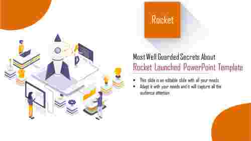 3Dimensional  rocket launched powerpoint template