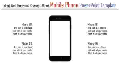 A four noded mobile phone powerpoint template