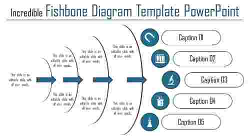 A five noded fishbone diagram template powerpoint