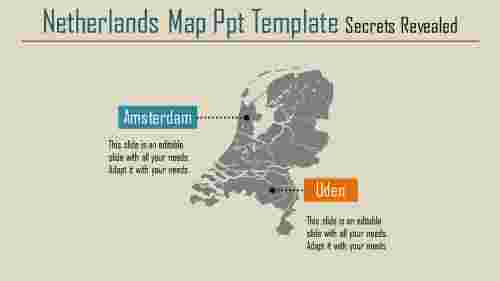 A two noded netherlands map ppt template