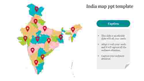 Editable India map ppt template