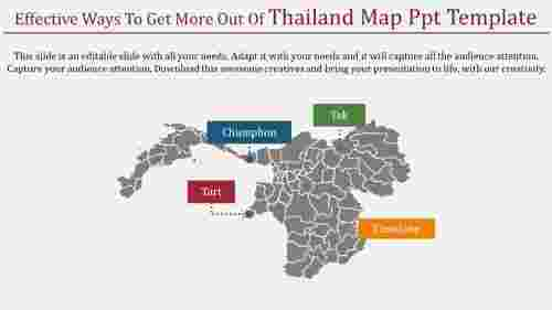 A four noded Thailand map PPT template