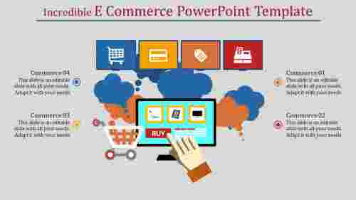 A four noded e commerce powerpoint template