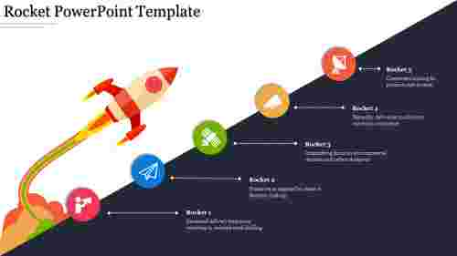 A five noded rocket powerpoint template