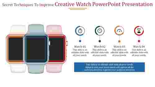 A four noded creative watch powerpoint presentation