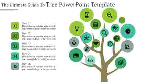 A five noded tree powerpoint template