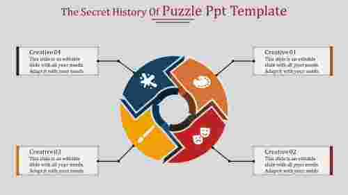 A four noded puzzle PPT template