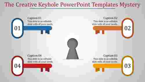 CreativekeyholepowerpointtemplateswithFourkeys