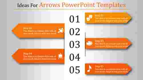 A five noded arrows powerpoint templates