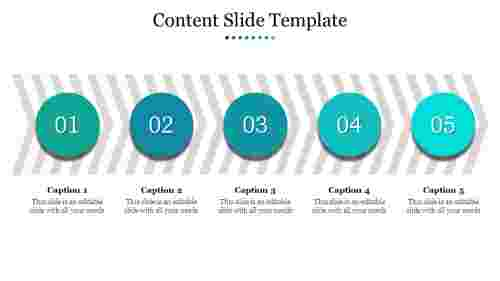 A five noded content slide template