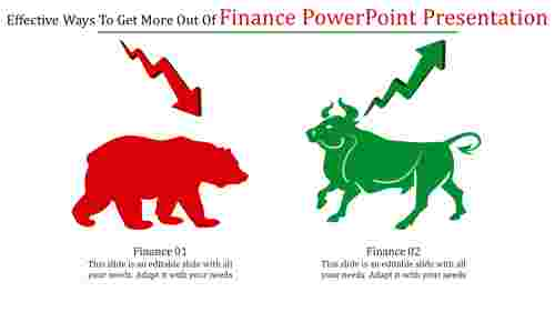 Finance powerpoint presentation with Growth and Decline Cliparts