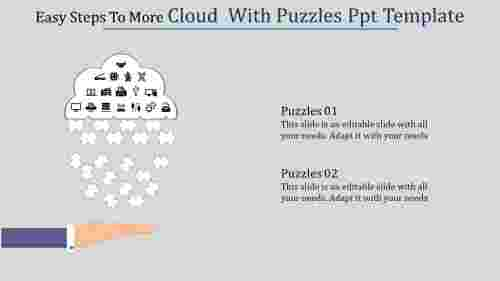 A two noded cloud  with puzzles PPT template