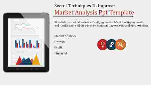 A three noded market analysis PPT template