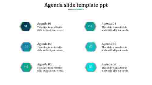 A six noded agenda slide template PPT