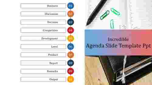A Ten Noded Agenda Slide Template PPT