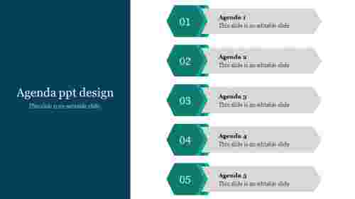 A five noded agenda PPT design