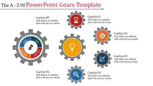 A six noded powerpoint gears template