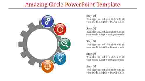 A five noded circle powerpoint template