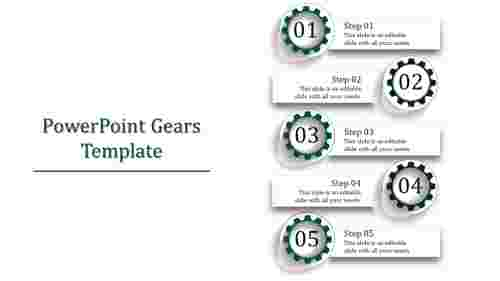 A five noded powerpoint gears template
