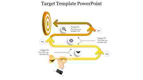 A three noded target template powerpoint