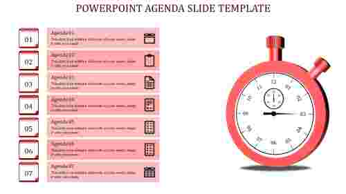 Seven stage Powerpoint Agenda Slide Template-with Red Circle